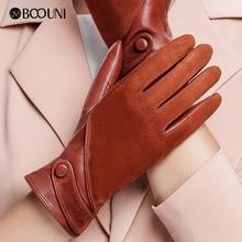 Boouni luvas de couro genuíno moda feminina camurça pele carneiro luva térmica inverno veludo forro luvas condução nw563