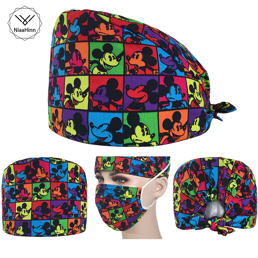 Unisex Food Service Working Beauty Cap Chef Hat Mouse Printing Scrub Cap+Mask Beautician Dental Medical Surgical Surgery Hat