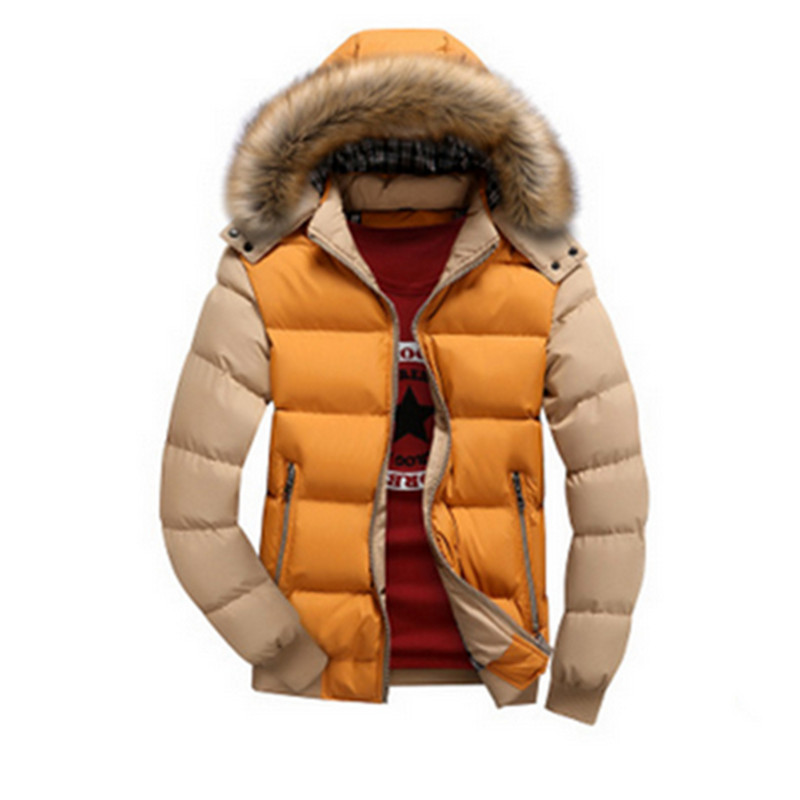2017 Fashion Brand Winter Mens Down Jacket With Fur Hood Hat Slim Men Outwear Coat Casual Down Jackets