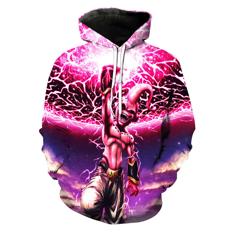 Dropshipping 2018 Newest Anime Dragon Ball Z Super Saiyan Male Hooded Majin Goku Vegeta 3d Hoodies Pullovers Men Hoodie US Size