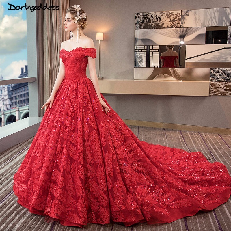 Luxury Princess Red Wedding Gowns Off Shoulder Ball Gown
