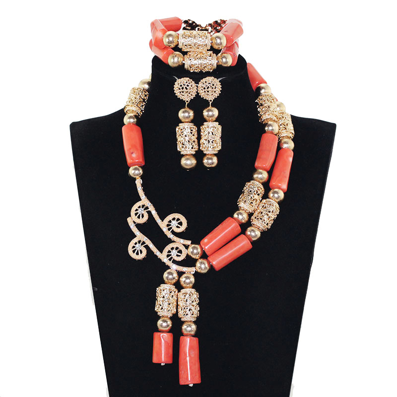 Fashion Jewelry Set African Coral Beads Exclusive Real Coral Pendant Bridal Necklace Set Copper Gold Accessory Free Ship ABH554