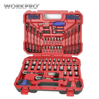 WORKPRO 145PC Set of Tools Instruments Tools Set Car Repair Tools Ratchet Wrench Spanner 1/4 and 3/8 Dr. Socket Set