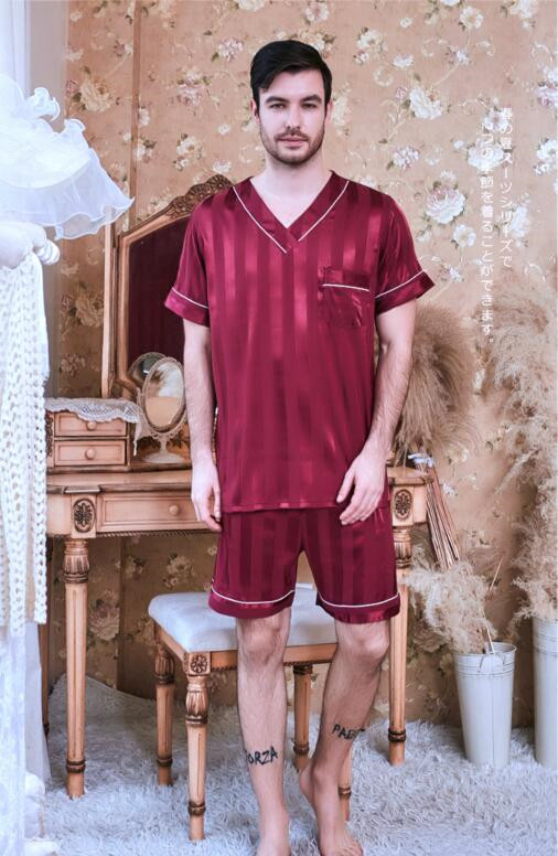 Men's Nightwear Ice Thin Silk Satin Pajamas Nightgown Short Sleeves Short Pants Homewear 2 Pcs Suit Set Plus Size Sleepwear J115