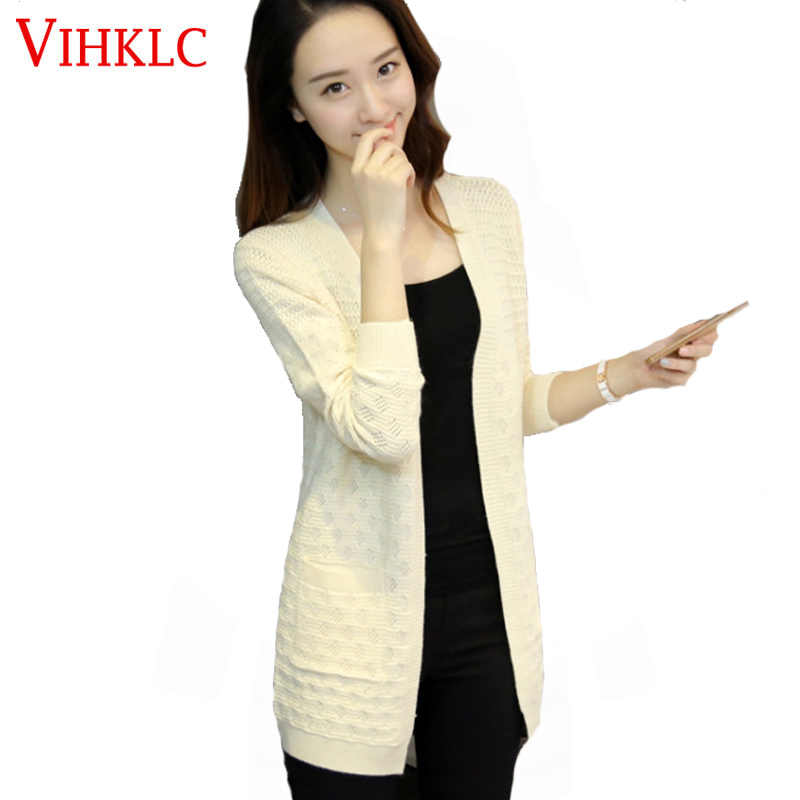 2017 New Women Spring Autumn Fashion Mid long Cardigan Female Elegant Pocket Knitted Outerwear Sweater Cape Top H237