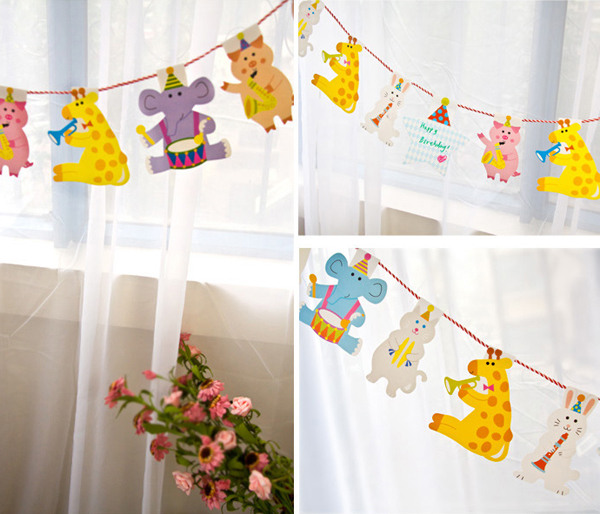 Kids Party Decoration Cartoon Animal Flag Bunting Garland Supplies Birthday Childrens Day Wall Decor In DIY Decorations From Home Garden On