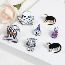 Grim Reaper Unique Skeleton Bone Brooches Ribcage Bow Enamel Pin Halloween Party Dark icon lapel Pin Badges Jewelry Friend Gift(China)