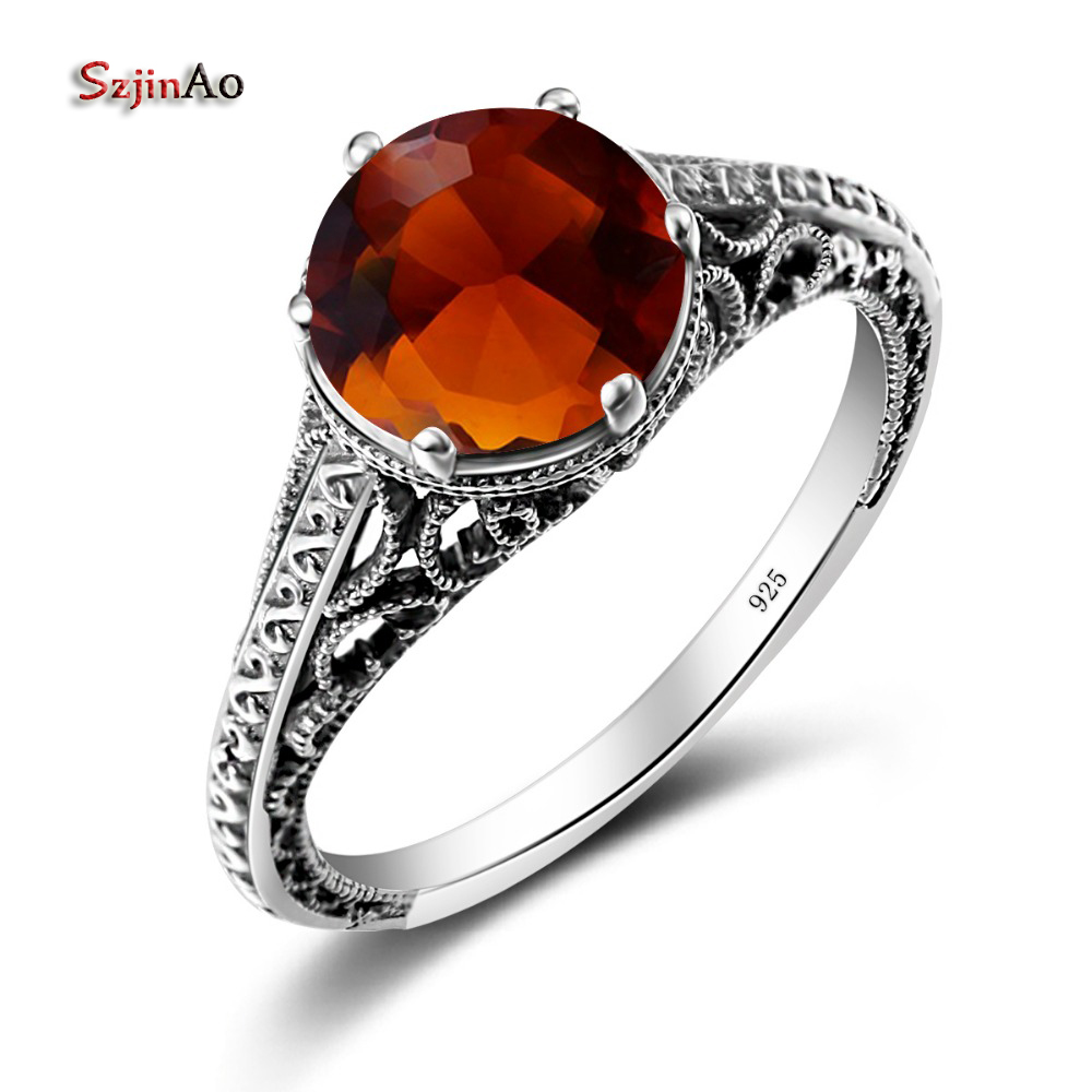 Szjinao 925 Sterling Silver Rings for Women Vintage Jewelry Amber Jewelry Engagement Wedding Anillos Navidad 925 sterling silver pear natural blue moonstone accent cz rings for women wedding engagement jewelry finger anillos bague anillo