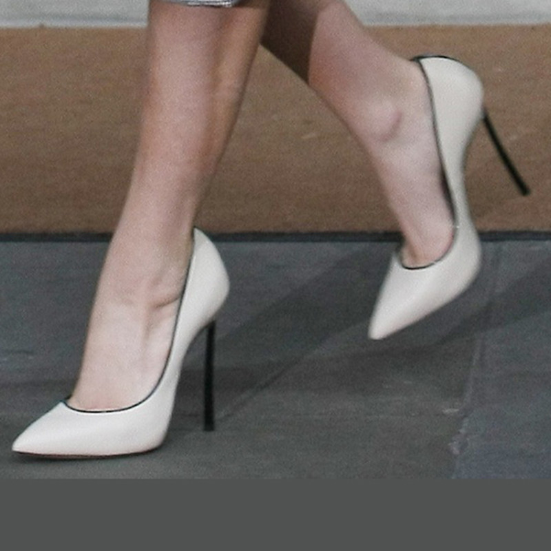 SHOFOO shoes, the sweet are free shipping, white leather, black trim, 11 cm stiletto pointed pumps.SIZE:34-45