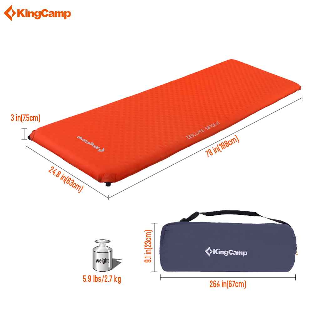 Kingcamp Self-Inflating Sleeping Mat Camping Pad Oversized Single Durable Portable Camping Mat Deluxe for Outdoor Sleeping Mats