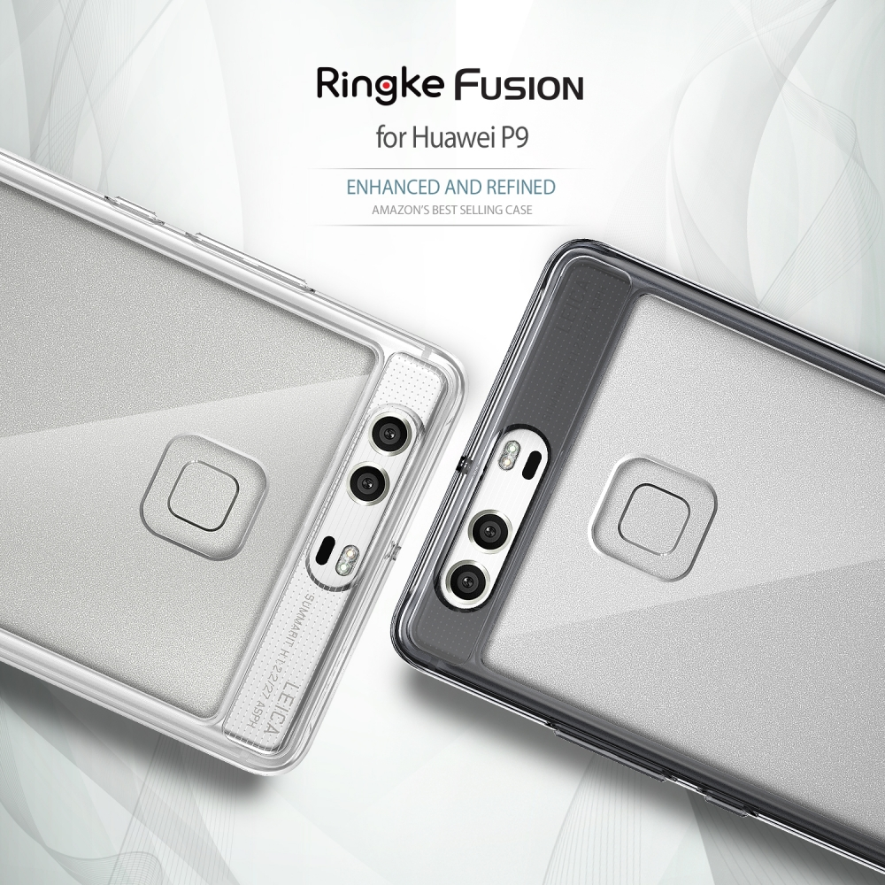 "imágenes para 5.2 ""RINGKE FUSIÓN Huawei P9 Caso TPU Marco con anti-arañazos Recubierto PC Transparente Volver Fundas para Huawei con P9 Enchufe del polvo"