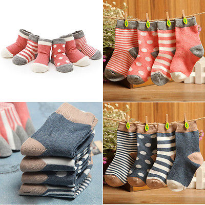 4 Pairs Baby Boys Girls Socks Kids Lovely Warm Cotton Socks 1-3Y Christmas Gift For Girls