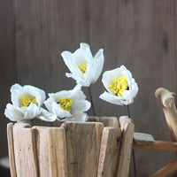 4 Pieces A Bunch Magnolia Natural Plant Handmade Combination With Long Rod White Dried Flower Home