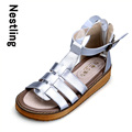 Nuevo 2017 Verano de Las Mujeres del Cuero Genuino Los Zapatos de Moda Casual Mujeres Gladiador Sandalias T-strap Cuñas Plataforma Zapatos de Playa Mujer