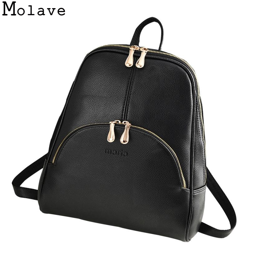 MOLAVE 2017 Women Backpack Leather Backpacks Softback Bags for Teenage Girls Female School Shoulder Bag Bagpack mochila Oct9