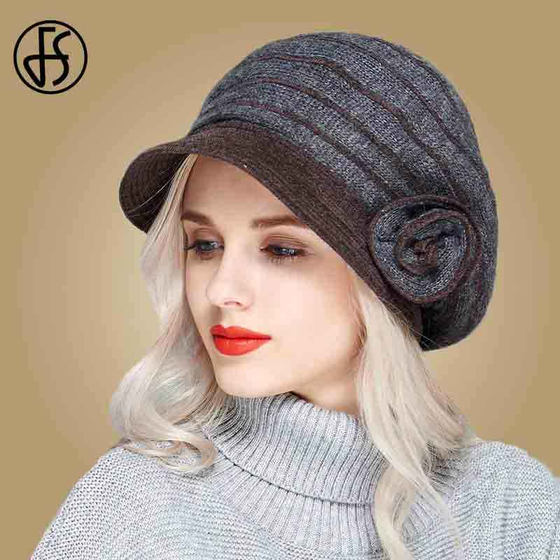 8add8855e91 FS Winter Wool Knitted Beret For Women Striped Vintage Church Hat Black  Gray Ladies Elegant Floral