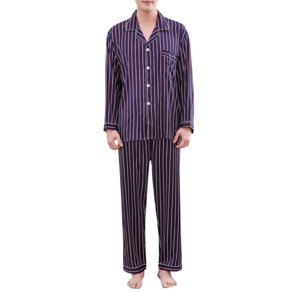 Men Pyjamas Cotton Spring Summer Autumn Striped Sleepwear Sets Male Leisure Long-sleeved Comfortable Home Clothing(China)