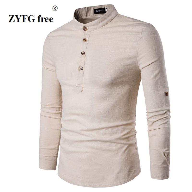2018 Ny sommar stil män mode slank långärmad T-shirt personlighet Knapp dekoration Mäns populära mandarin krage t-shirt
