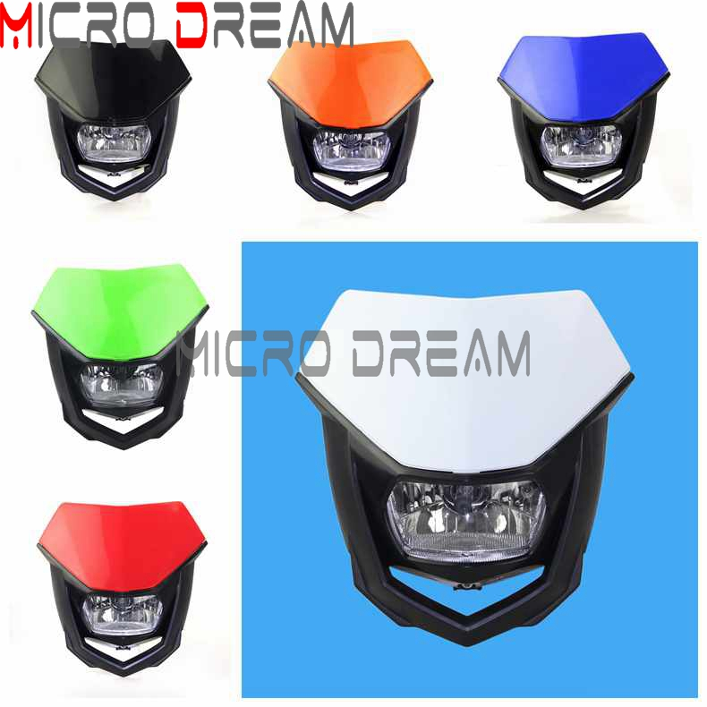 6 Colors Universal 12V H4 Headlight Fairing Motocross Enduro Supermoto Dirt Bike Head Light Mask For KTM Honda Yamaha Kawasaki
