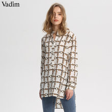 Vadim women elegant chain print long blouse long sleeve side split irregular shirts ladies streetwear loose tops blusas LA323(China)