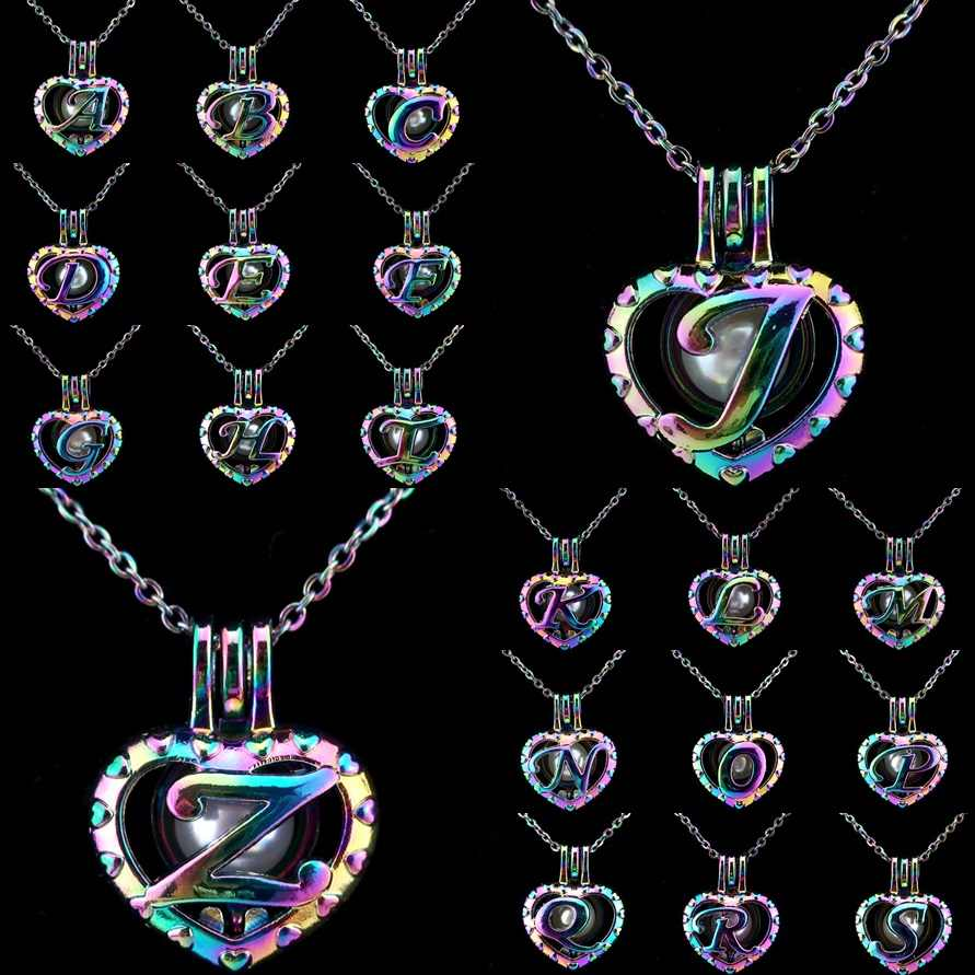Rainbow Alphabet 26 Letters A-Z Beads Cage Essential Oil Diffuser Aroma Pearl Cage Locket Necklace Kids Women Girl Gift