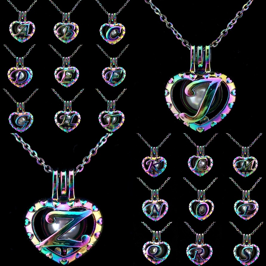 Rainbow Alphabet 26 Letters A-Z Beads Cage Essential Oil Diffuser Aroma Pearl Cage Locket Necklace Kids Women Girl Gift locket