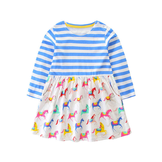 New striped cartoon dress for baby girls with printed some cute horses kids  new designed spring autumn clothes children dress 63c6950826ec
