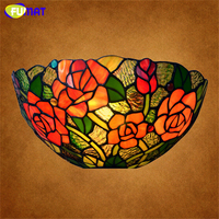 FUMAT Glass Wall Lamp Art Rose Dragonfly Stained Glass Shade Lights Bedside Living Room Bar Mirror Front Lamp Wall Sconce Light