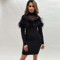 New Fashion Elegant Mature Long Sleeve Hourglass Figure Black Stretch Bandage Dress Women Dress Party Dresses Vestidos Wholesale