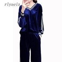 RLYAEIZ Plus Size 5XL Casual Sporting Suits Women 2017 Autumn Gold Velvet Tracksuits Striped Hoodies Pants