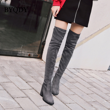 BYQDY Spring Autumn Ladies Shoes Party Women Boots High Heel Flock Over the Knee Suede 2018 Fashion Winter Shoe