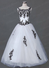 Free Shipping Chic Handmade Ball Gown Tulle Wedding Dress Actual Images With Black Appliques MD102
