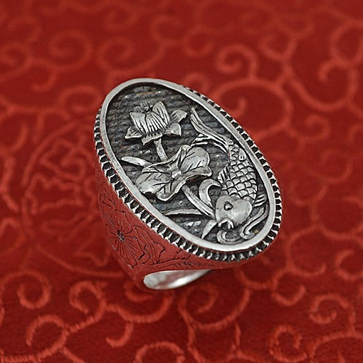 999 sterling silver ring restoring ancient ways men lotus have fish fine silver ring999 sterling silver ring restoring ancient ways men lotus have fish fine silver ring