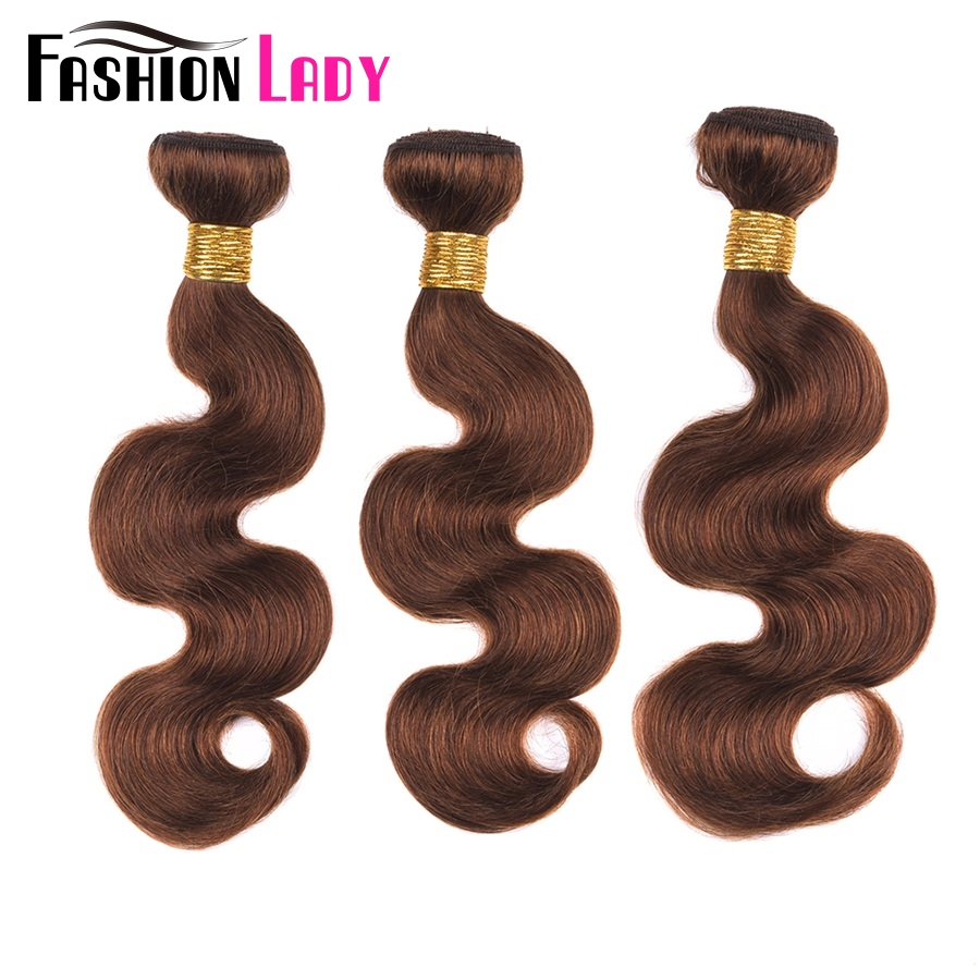 Fashion Lady Pre-Colored Peruvian Body Wave Hair Extensions 3 Bundles Human Hair Weaving 4# Medium Brown Bundles Non-Remy