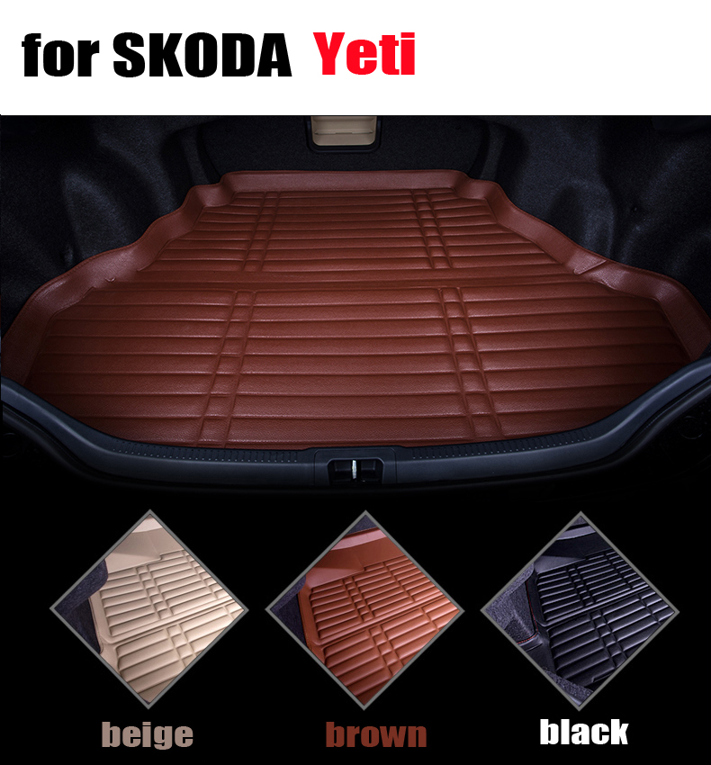 car trunk liner for SKODA Yeti all the years waterproof leather cargo liner all weather car mats cargo mats auto autoaccessories car rear trunk security shield cargo cover for volkswagen vw tiguan 2016 2017 2018 high qualit black beige auto accessories