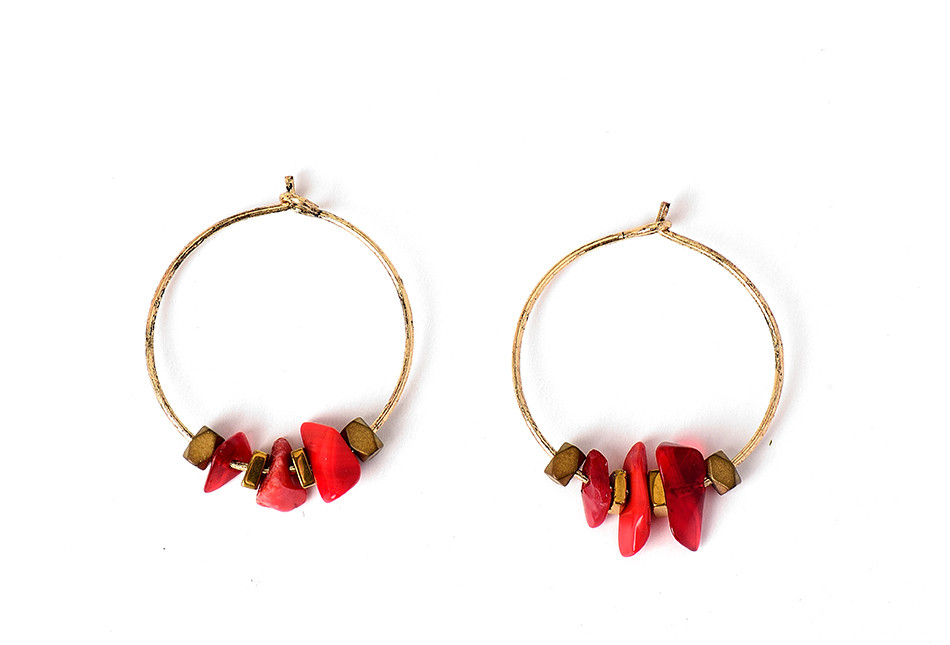 HTB1tZvGQFXXXXaXXpXXq6xXFXXXi - Women Trendy Red Natural Stone Pendant Round Hoop Earrings Vintage Antique Gold Circle Hoop Earrings Jewelry