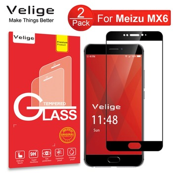 e05fb7c7e1c 2 Pack de Protector de pantalla Velige para Meizu MX6 MX 6 vidrio templado  9 H dureza cubierta completa Ultra fina seguridad de película