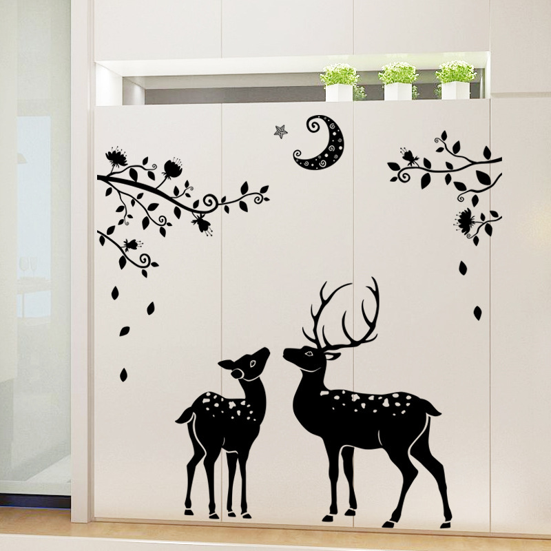 Christmas Wall Decoration Stickers Moonless Deer Silhouettes Wall ...