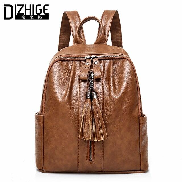DIZHIGE Brand Tassel PU Leather Backpack Women School Bags For Teenager Girl  Designer Women Backpack Female Travel Back Pack New e499dacdad