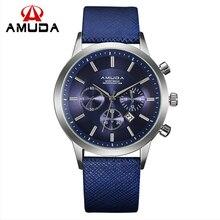 Amuda Marca de lujo de Los Hombres Relojes Del Cuarzo Del Cuero Impermeable Reloj Ocasional relojes de Pulsera para Hombre Relojes Deportivos Al Aire Libre