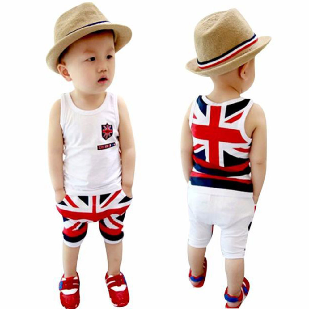 Hot New Kids Children Boy Clothes Set O Neck Sleeveless Stripped T-shirt Tops+Pants Outfits Sports Suit Tracksuit for Boys H1