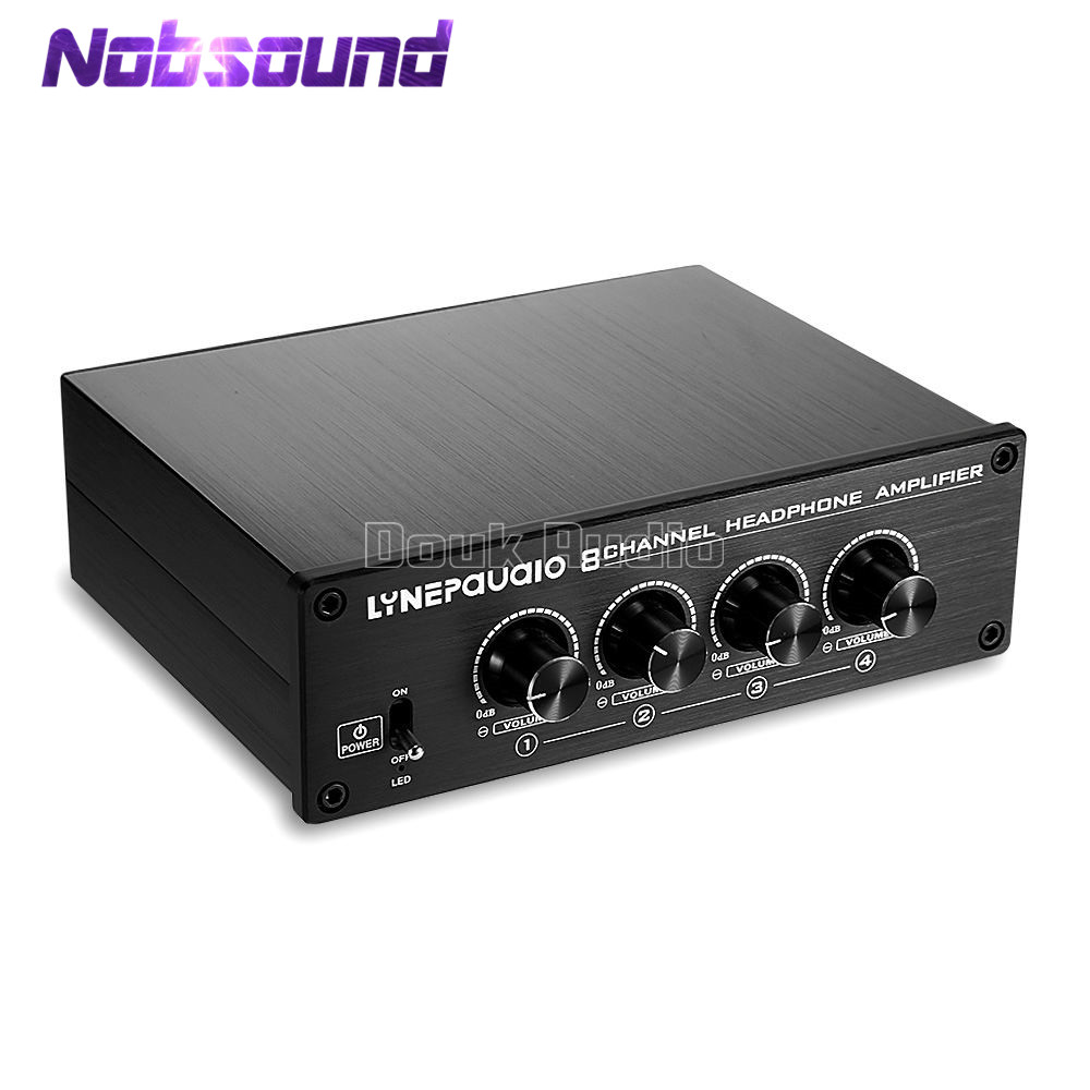 Nobsound Mini Stereo 8-Channel Headphones Amplifier High-Power Headset Distributor Signal Amp moonembassy 4 channel adjustable volume headphone amplifier amp distributor free shipping