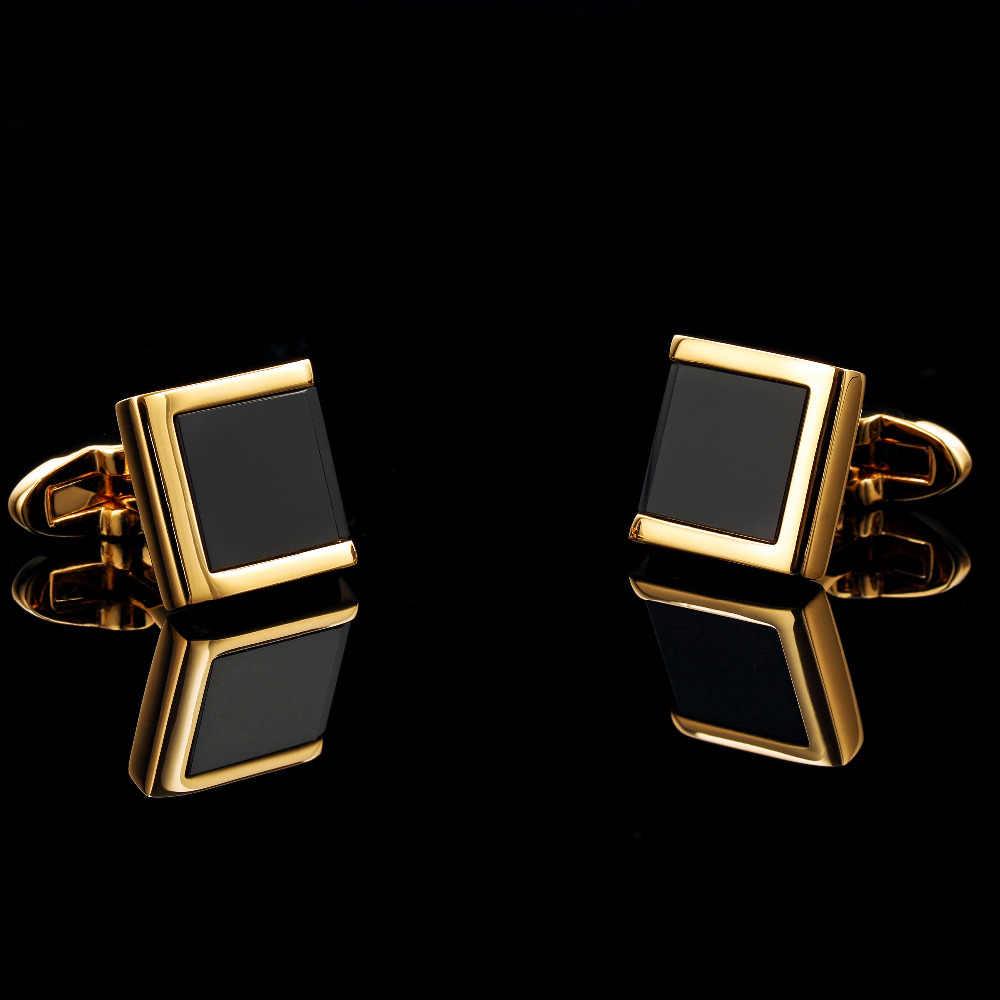KFLK popüler erkekler kare düğmeler üzerinde gömlek kol manşet bağlantılar altın adam düğün hediyesi transferi hediye kol düğmeleri ücretsiz kargo