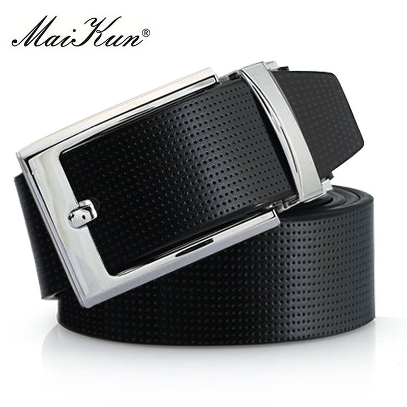 Maikun Cowskin Leather Pin Buckle   Belts   for Men High Quality Male Strap Fashion Silvery Reversible Buckle Men's   Belt
