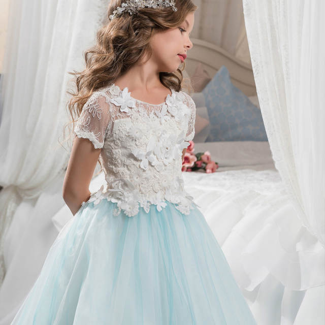 6180f74224 Abaowedding Blue Butterfly Girls Dresses with Sleeves Ball Gown Kids First  Communion Dress Long Flower Girls