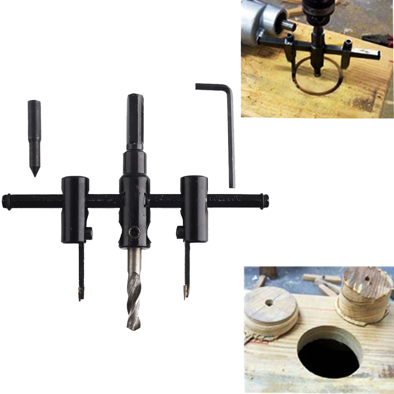 1 Set Handy Adjustable Metal Wood Circle Hole Drill Bits Cutter Saw Use 30mm-120mm Woodworking Cordless Drilling Tools New 3pcs 75mm 2 953in bi metal hole saw power tool metal drilling wood hole saw wood tool woodworking buy 2 more favorable