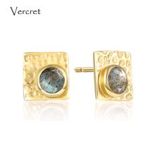 Vercret 925 sterling silver labradorite earrings romantic 18k gold earrings jewelry for women sp