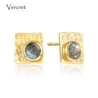 Vercret 925 sterling silver labradorite earrings romantic 18k gold earrings jewelry for women