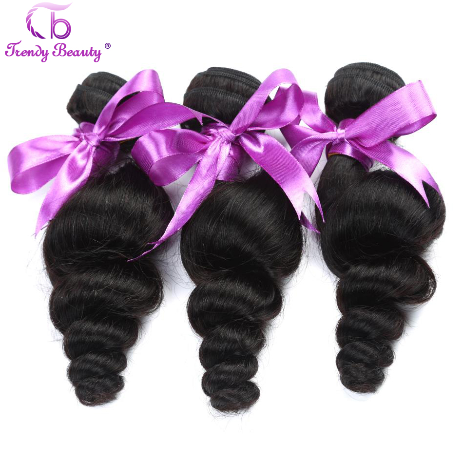 Trendy Beauty Brazilian Loose Wave 100% Human Hair Weave Bundles 3pcs Natural Black Color Can Be Dye Free Shipping 8-30 Inches