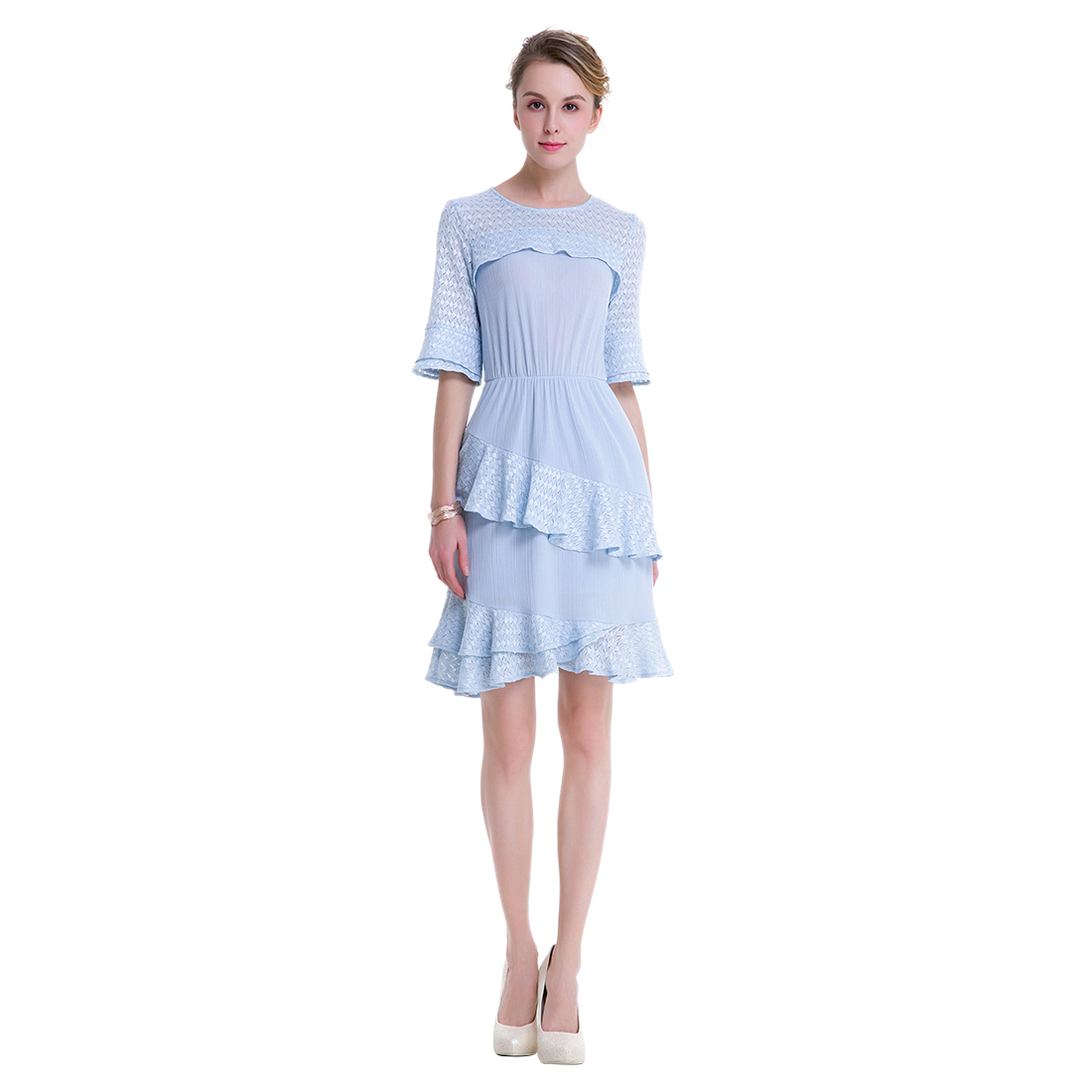 TFGS New Design Lace Pleated Short Dress Above Knee Mini Sweet Dresses For Women Formal Clothing